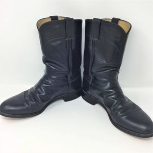 Justin Boots Black Leather Cowboy 10.5 D